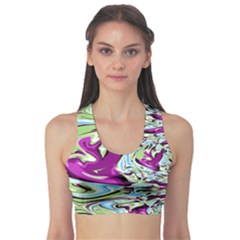 Purple, Green, and Blue Abstract Sports Bra