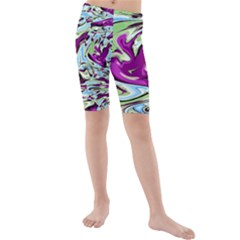 Purple, Green, and Blue Abstract Kid s swimwear