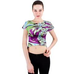 Purple, Green, and Blue Abstract Crew Neck Crop Top