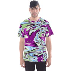 Purple, Green, and Blue Abstract Men s Sport Mesh Tees