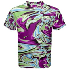 Purple, Green, and Blue Abstract Men s Cotton Tees
