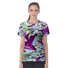 Purple, Green, And Blue Abstract Women s Sport Mesh Tees