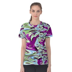 Purple, Green, And Blue Abstract Women s Cotton Tees