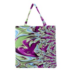 Purple, Green, and Blue Abstract Grocery Tote Bags