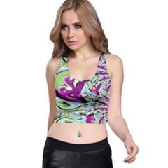 Purple, Green, and Blue Abstract Racer Back Crop Tops