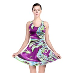 Purple, Green, and Blue Abstract Reversible Skater Dresses