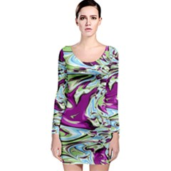 Purple, Green, and Blue Abstract Long Sleeve Bodycon Dresses