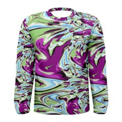 Purple, Green, and Blue Abstract Men s Long Sleeve T-shirts
