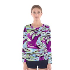 Purple, Green, And Blue Abstract Women s Long Sleeve T Shirts