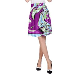 Purple, Green, and Blue Abstract A-Line Skirts