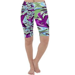 Purple, Green, And Blue Abstract Cropped Leggings