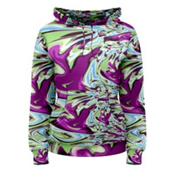 Purple, Green, and Blue Abstract Women s Pullover Hoodies