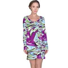 Purple, Green, And Blue Abstract Long Sleeve Nightdresses