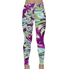 Purple, Green, And Blue Abstract Yoga Leggings
