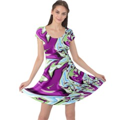 Purple, Green, and Blue Abstract Cap Sleeve Dresses