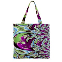 Purple, Green, and Blue Abstract Zipper Grocery Tote Bags