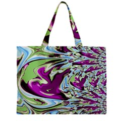 Purple, Green, and Blue Abstract Zipper Tiny Tote Bags
