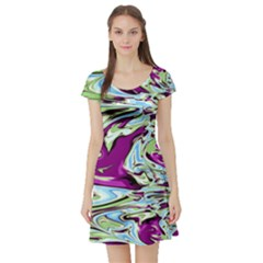 Purple, Green, and Blue Abstract Short Sleeve Skater Dresses