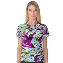 Purple, Green, and Blue Abstract Women s V-Neck Sport Mesh Tee