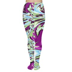 Purple, Green, And Blue Abstract Women s Tights