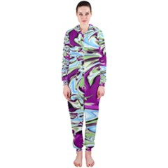 Purple, Green, and Blue Abstract Hooded Jumpsuit (Ladies)