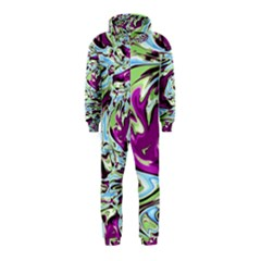Purple, Green, and Blue Abstract Hooded Jumpsuit (Kids)