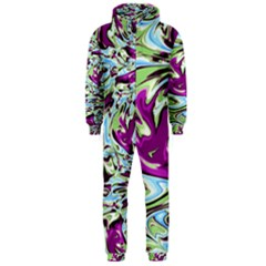 Purple, Green, and Blue Abstract Hooded Jumpsuit (Men)