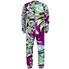 Purple, Green, and Blue Abstract OnePiece Jumpsuit (Men)