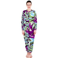 Purple, Green, and Blue Abstract OnePiece Jumpsuit (Ladies)
