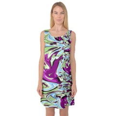 Purple, Green, And Blue Abstract Sleeveless Satin Nightdresses