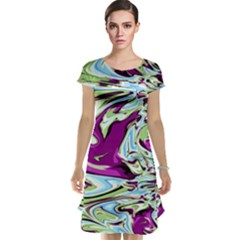 Purple, Green, and Blue Abstract Cap Sleeve Nightdresses