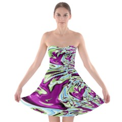 Purple, Green, And Blue Abstract Strapless Bra Top Dress