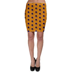 Orange Black Polka-dot  Bodycon Skirts