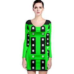 Neon Green Black Abstract  Long Sleeve Bodycon Dresses