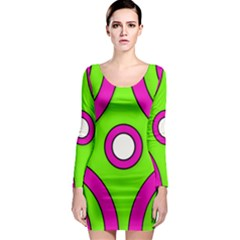 Florescent Green Pink Abstract Pattern  Long Sleeve Bodycon Dresses