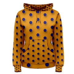 Florescent Orange Black Polka-dot  Women s Pullover Hoodies