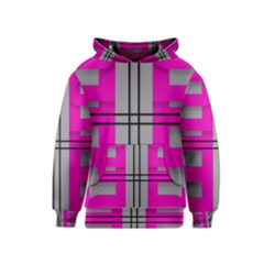 Florescent Pink Grey Abstract  Kid s Pullover Hoodies