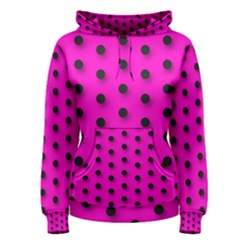 Hot Pink Black Polka-dot  Women s Pullover Hoodies