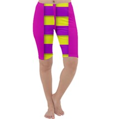 Florescent Pink Purple Abstract  Cropped Leggings