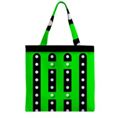 Florescent Green Black Polka Dot  Grocery Tote Bags