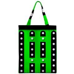 Florescent Green Black Polka Dot  Classic Tote Bags