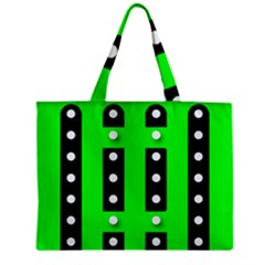 Florescent Green Black Polka-dot  Zipper Tiny Tote Bags