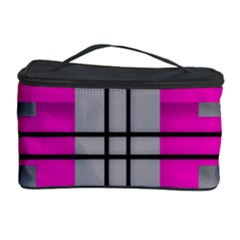 Florescent Pink Grey Abstract  Cosmetic Storage Cases