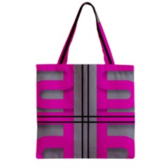 Florescent Pink Grey Abstract  Zipper Grocery Tote Bags