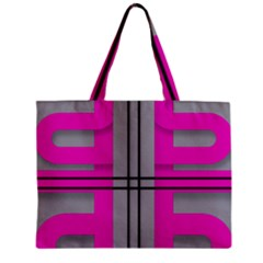 Florescent Pink Grey Abstract  Zipper Tiny Tote Bags