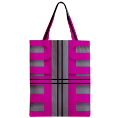 Florescent Pink Grey Abstract  Zipper Classic Tote Bags