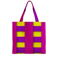 Florescent Pink Purple Abstract  Zipper Grocery Tote Bags