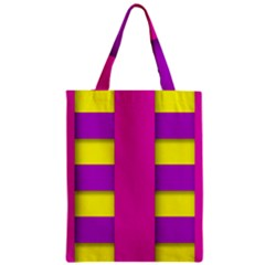 Florescent Pink Purple Abstract  Zipper Classic Tote Bags