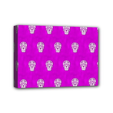 Skull Pattern Hot Pink Mini Canvas 7  x 5