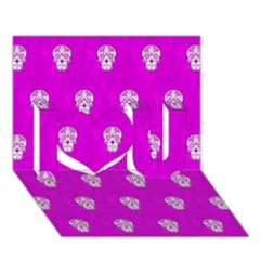 Skull Pattern Hot Pink I Love You 3D Greeting Card (7x5)